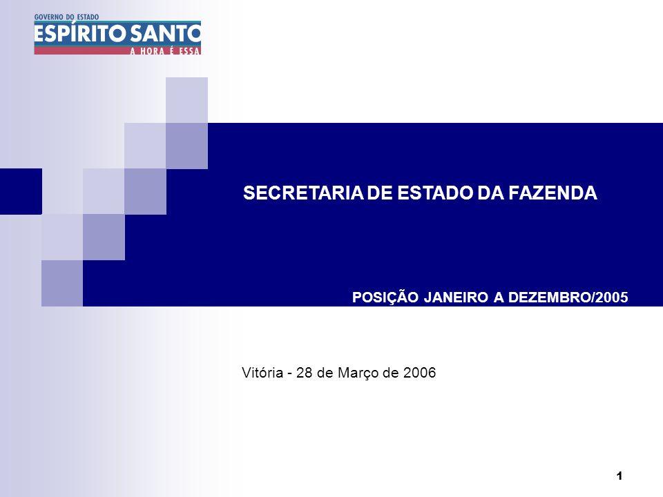 1 POSIÇÃO JANEIRO A DEZEMBRO/2005 Vitória - 28 de Março de 2006 SECRETARIA DE ESTADO DA FAZENDA