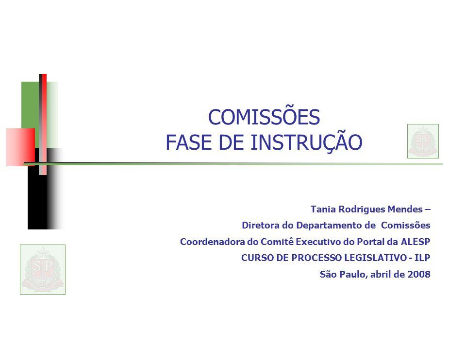 COMISSÕES FASE DE INSTRUÇÃO Tania Rodrigues Mendes – Diretora do Departamento de Comissões Coordenadora do Comitê Executivo do Portal da ALESP CURSO DE PROCESSO LEGISLATIVO - ILP São Paulo, abril de 2008