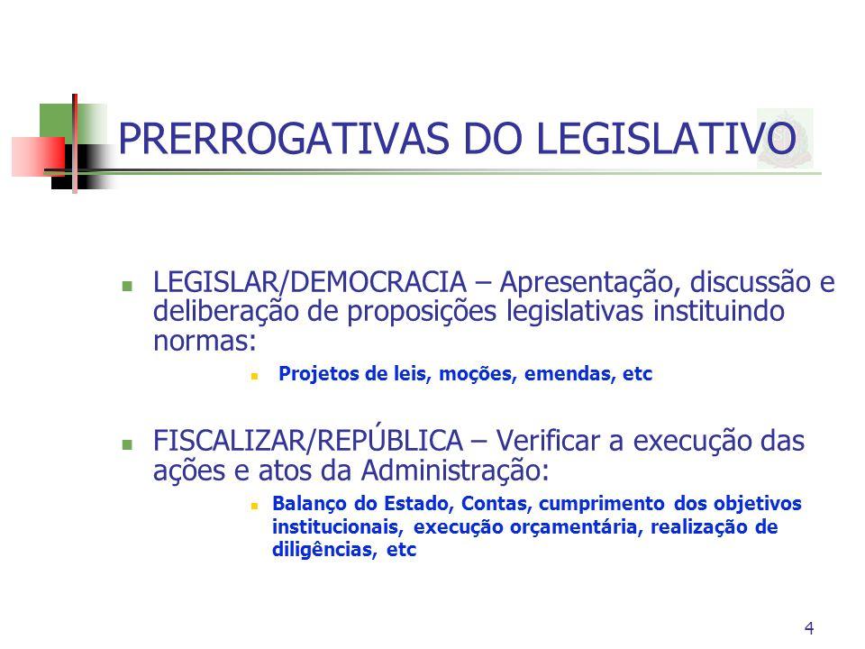 4 PRERROGATIVAS DO LEGISLATIVO LEGISLAR/DEMOCRACIA – Apresentação, discussão e deliberação de proposições legislativas instituindo normas: Projetos de leis, moções, emendas, etc FISCALIZAR/REPÚBLICA – Verificar a execução das ações e atos da Administração: Balanço do Estado, Contas, cumprimento dos objetivos institucionais, execução orçamentária, realização de diligências, etc