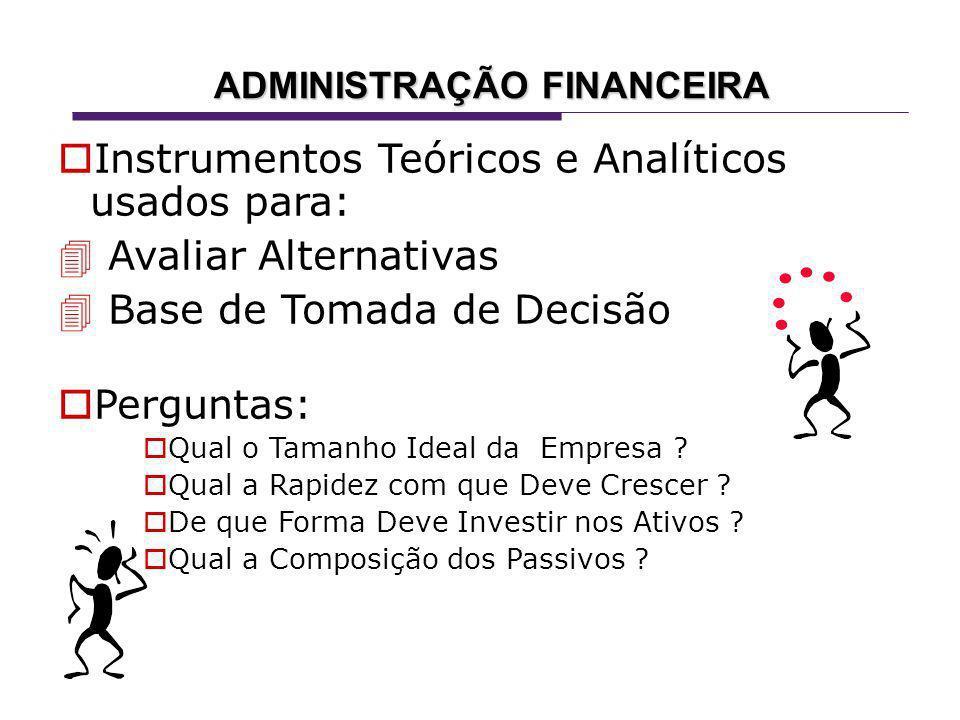Instrumentos Teóricos e Analíticos usados para: Avaliar Alternativas Base de Tomada de Decisão Perguntas: Qual o Tamanho Ideal da Empresa .