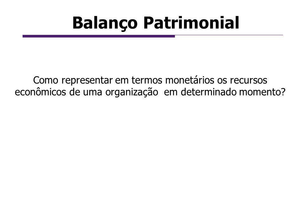 Balanço Patrimonial Como representar em termos monetários os recursos econômicos de uma organização em determinado momento?