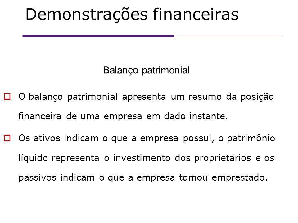 O balanço patrimonial apresenta um resumo da posição financeira de uma empresa em dado instante.