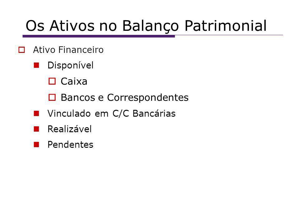 Os Ativos no Balanço Patrimonial Ativo Financeiro Disponível Caixa Bancos e Correspondentes Vinculado em C/C Bancárias Realizável Pendentes