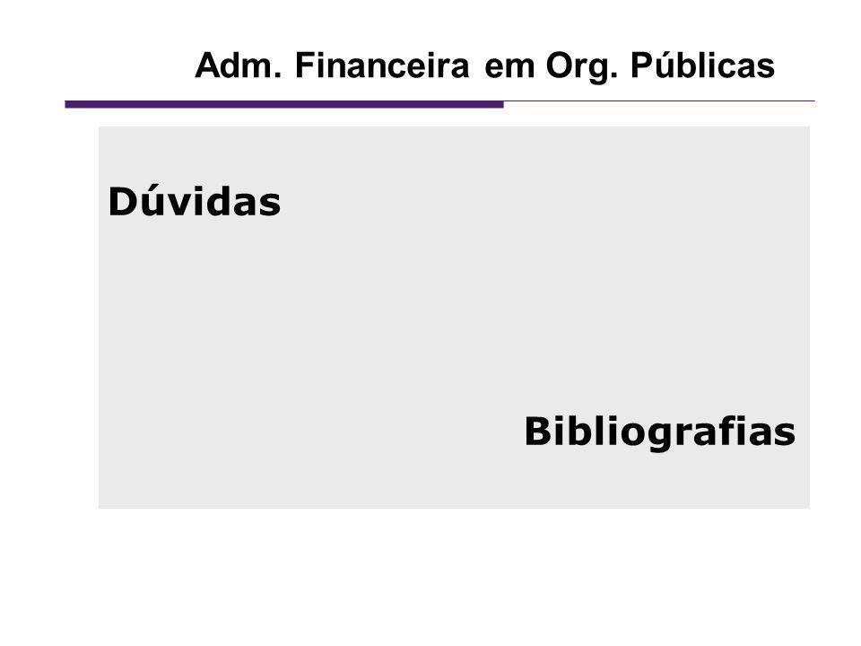 Adm. Financeira em Org. Públicas Dúvidas Bibliografias