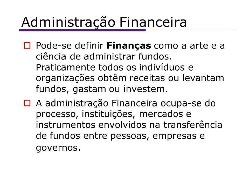 Administração Financeira Pode-se definir Finanças como a arte e a ciência de administrar fundos.