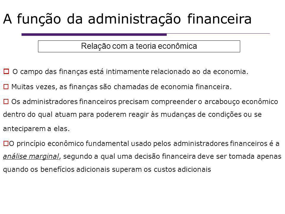 A função da administração financeira O campo das finanças está intimamente relacionado ao da economia.