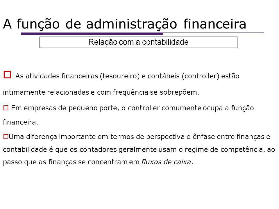 A função de administração financeira As atividades financeiras (tesoureiro) e contábeis (controller) estão intimamente relacionadas e com freqüência se sobrepõem.