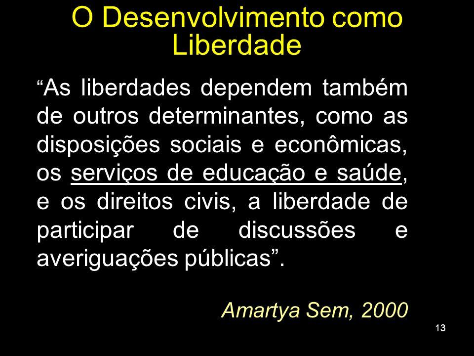 13 As liberdades dependem também de outros determinantes, como as disposições sociais e econômicas, os serviços de educação e saúde, e os direitos civ