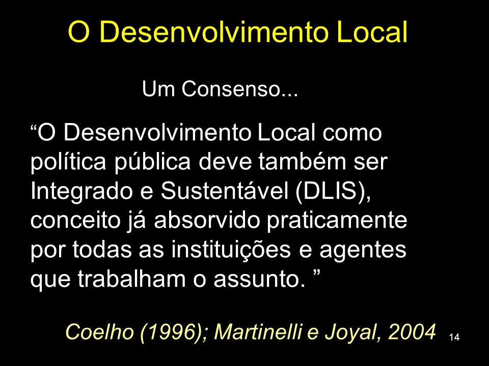 14 Um Consenso... O Desenvolvimento Local como política pública deve também ser Integrado e Sustentável (DLIS), conceito já absorvido praticamente por