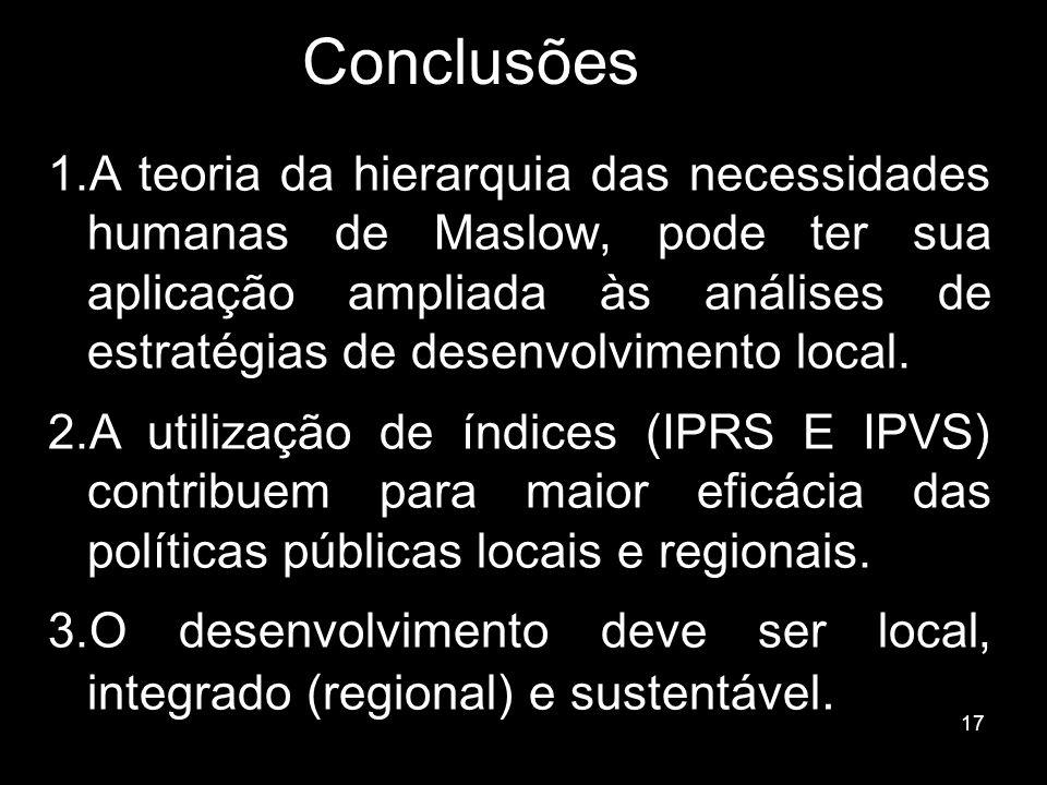 17 Conclusões 1.A teoria da hierarquia das necessidades humanas de Maslow, pode ter sua aplicação ampliada às análises de estratégias de desenvolvimen