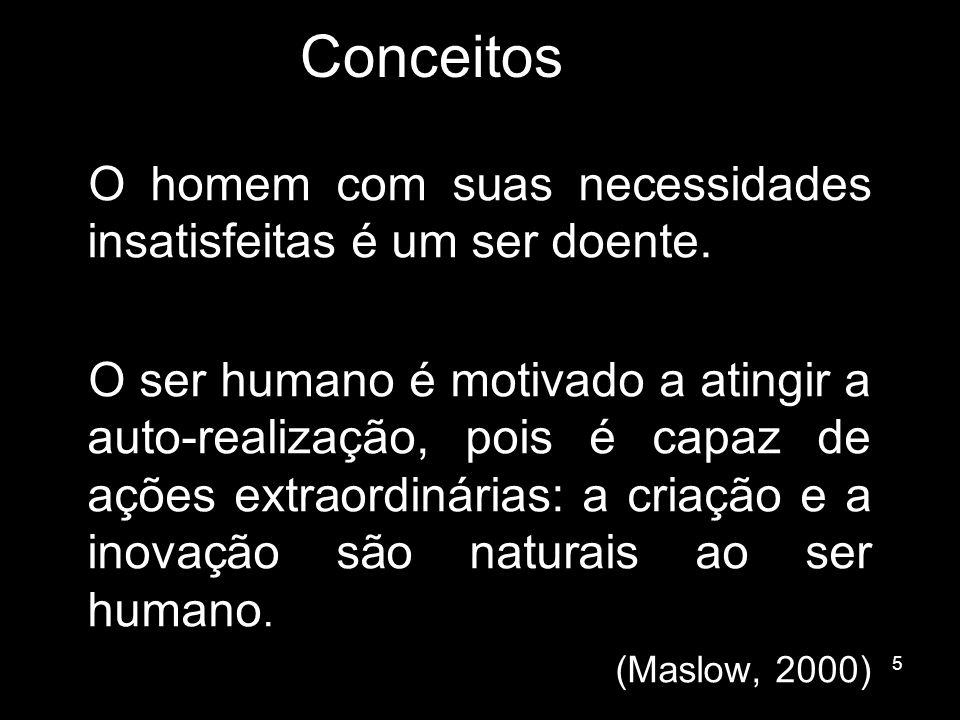5 Conceitos O homem com suas necessidades insatisfeitas é um ser doente. O ser humano é motivado a atingir a auto-realização, pois é capaz de ações ex