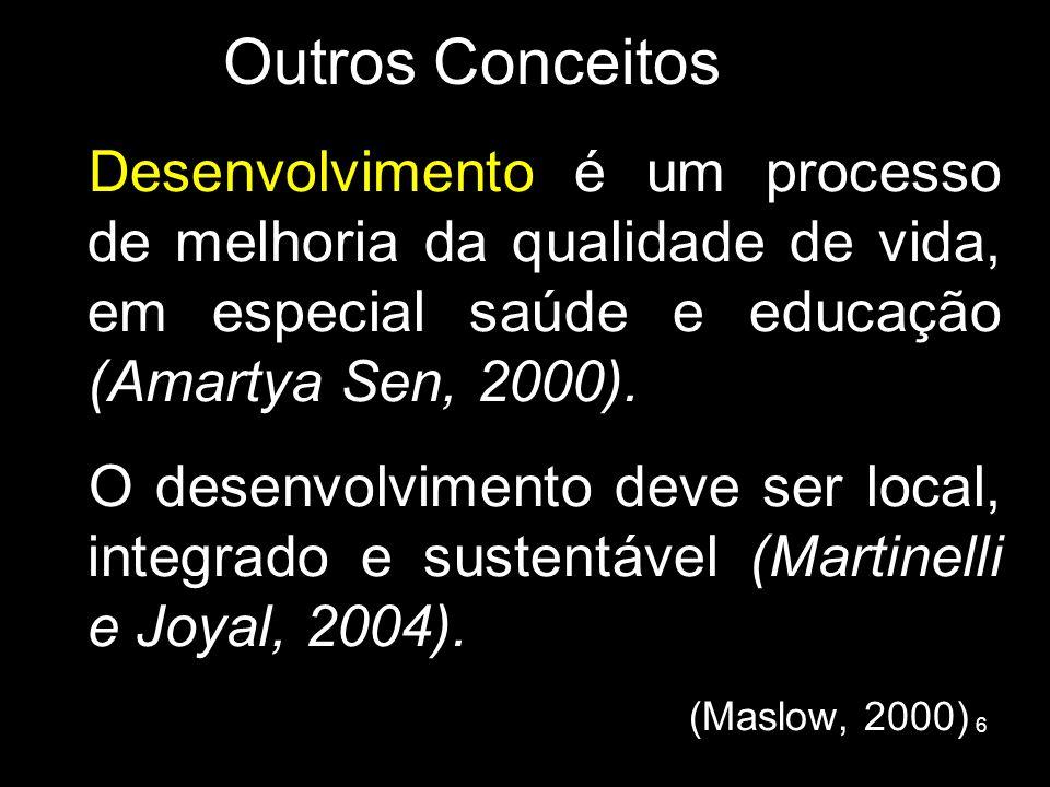 6 Outros Conceitos Desenvolvimento é um processo de melhoria da qualidade de vida, em especial saúde e educação (Amartya Sen, 2000). O desenvolvimento