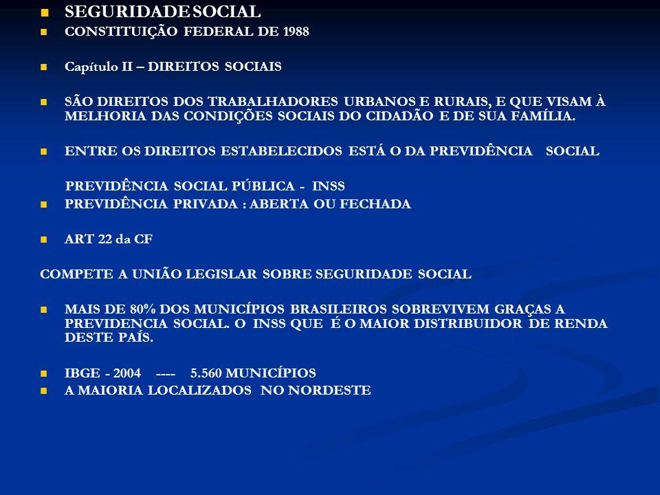 SEGURIDADE SOCIAL CONSTITUIÇÃO FEDERAL DE 1988 Capítulo II – DIREITOS SOCIAIS SÃO DIREITOS DOS TRABALHADORES URBANOS E RURAIS, E QUE VISAM À MELHORIA DAS CONDIÇÕES SOCIAIS DO CIDADÃO E DE SUA FAMÍLIA.