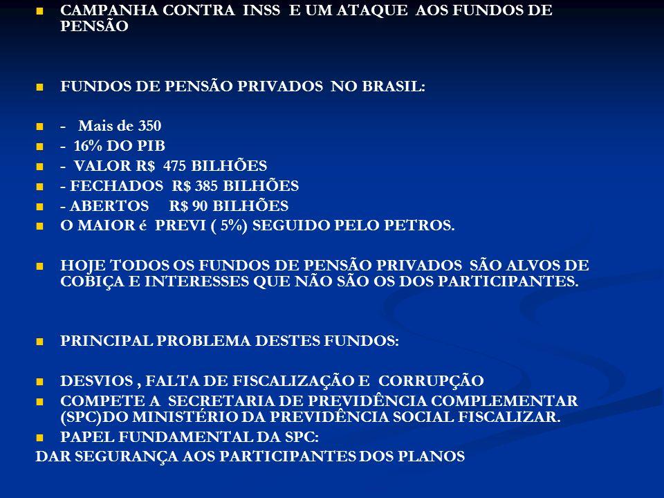 CAMPANHA CONTRA INSS E UM ATAQUE AOS FUNDOS DE PENSÃO FUNDOS DE PENSÃO PRIVADOS NO BRASIL: - Mais de 350 - 16% DO PIB - VALOR R$ 475 BILHÕES - FECHADOS R$ 385 BILHÕES - ABERTOS R$ 90 BILHÕES O MAIOR é PREVI ( 5%) SEGUIDO PELO PETROS.