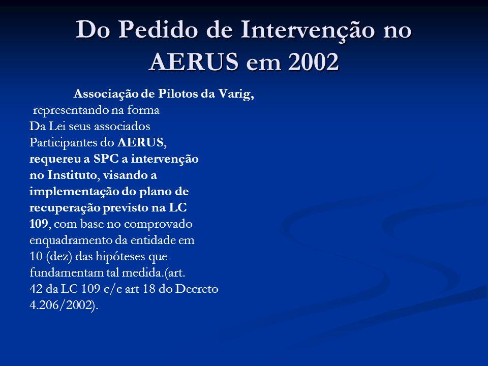 Do Pedido de Intervenção no AERUS em 2002 Associação de Pilotos da Varig, representando na forma Da Lei seus associados Participantes do AERUS, requereu a SPC a intervenção no Instituto, visando a implementação do plano de recuperação previsto na LC 109, com base no comprovado enquadramento da entidade em 10 (dez) das hipóteses que fundamentam tal medida.(art.