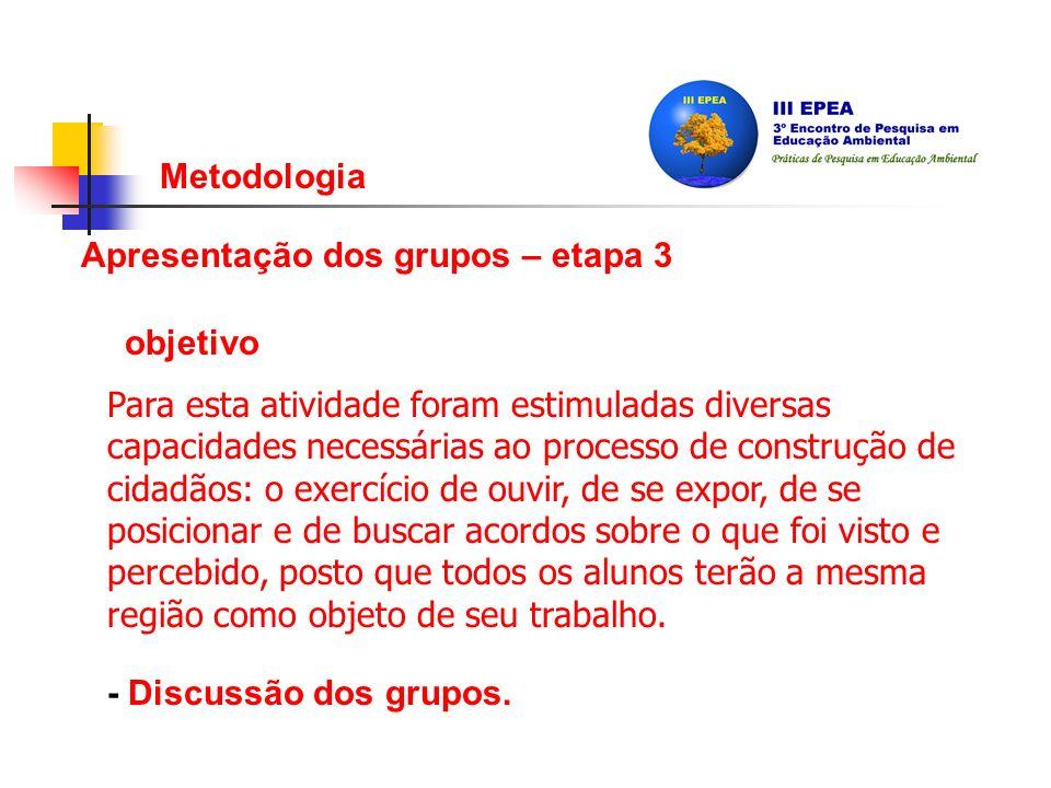 Metodologia Apresentação dos grupos – etapa 3 - Discussão dos grupos.