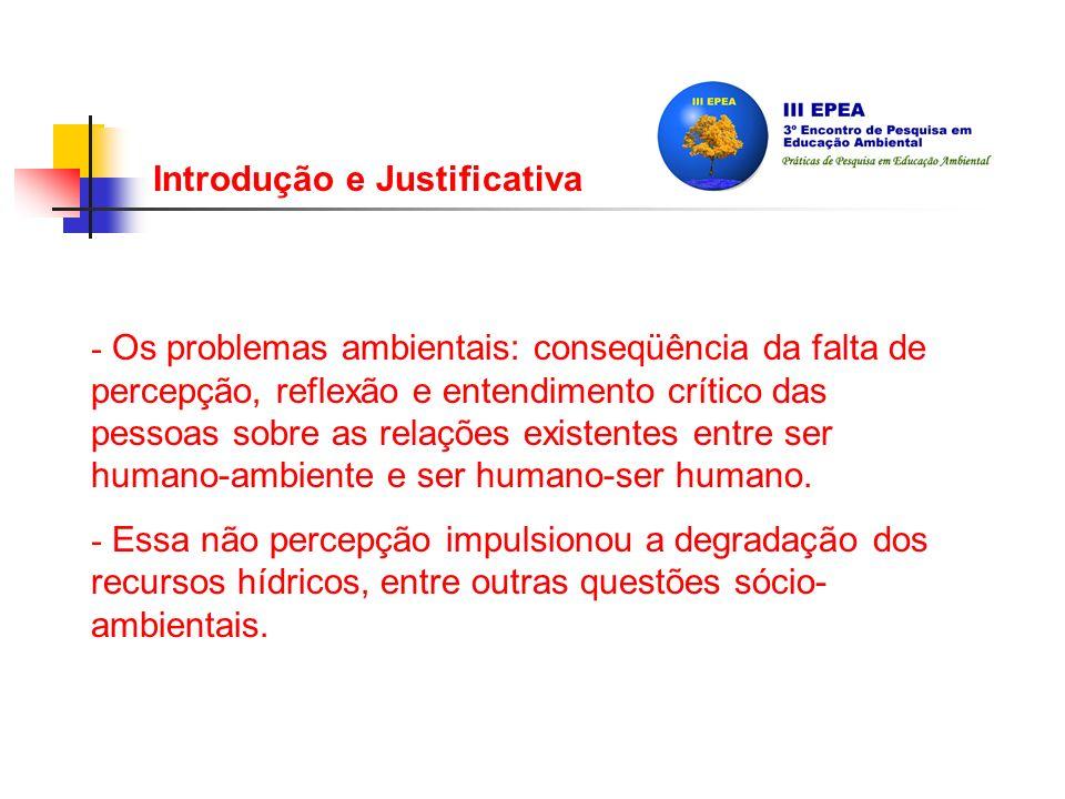 Introdução e Justificativa - Os problemas ambientais: conseqüência da falta de percepção, reflexão e entendimento crítico das pessoas sobre as relações existentes entre ser humano-ambiente e ser humano-ser humano.