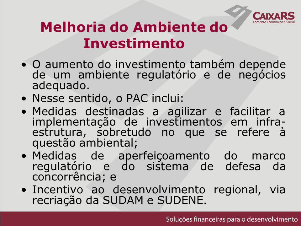 O aumento do investimento também depende de um ambiente regulatório e de negócios adequado.