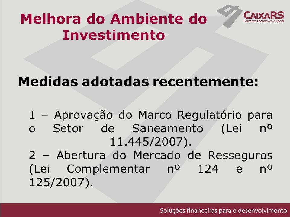 Melhora do Ambiente do Investimento Medidas adotadas recentemente: 1 – Aprovação do Marco Regulatório para o Setor de Saneamento (Lei nº 11.445/2007).