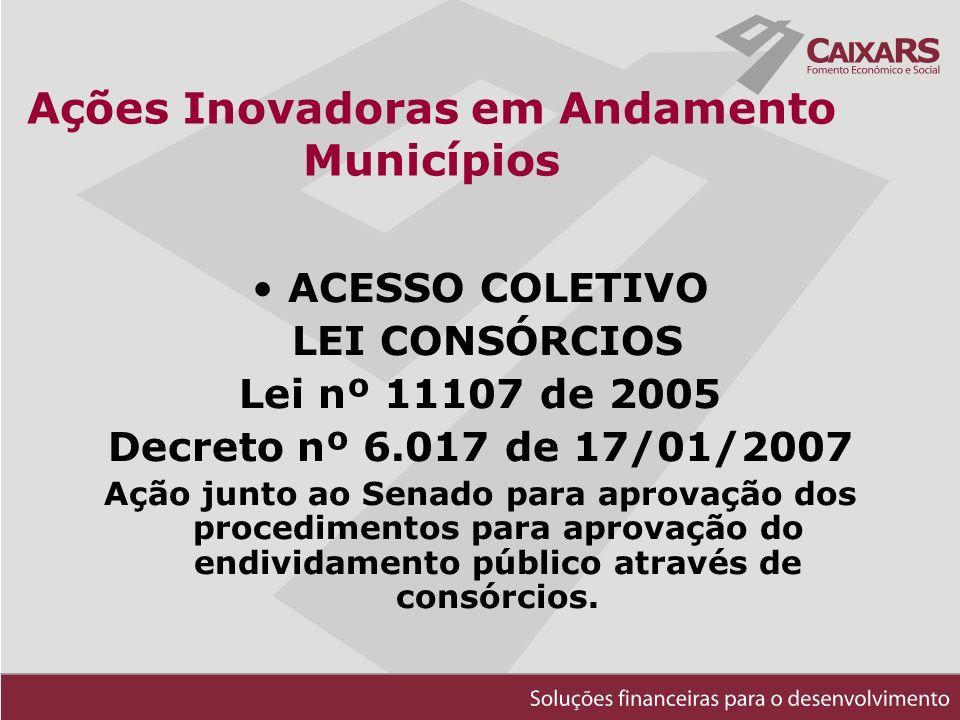 Ações Inovadoras em Andamento Municípios ACESSO COLETIVO LEI CONSÓRCIOS Lei nº 11107 de 2005 Decreto nº 6.017 de 17/01/2007 Ação junto ao Senado para aprovação dos procedimentos para aprovação do endividamento público através de consórcios.