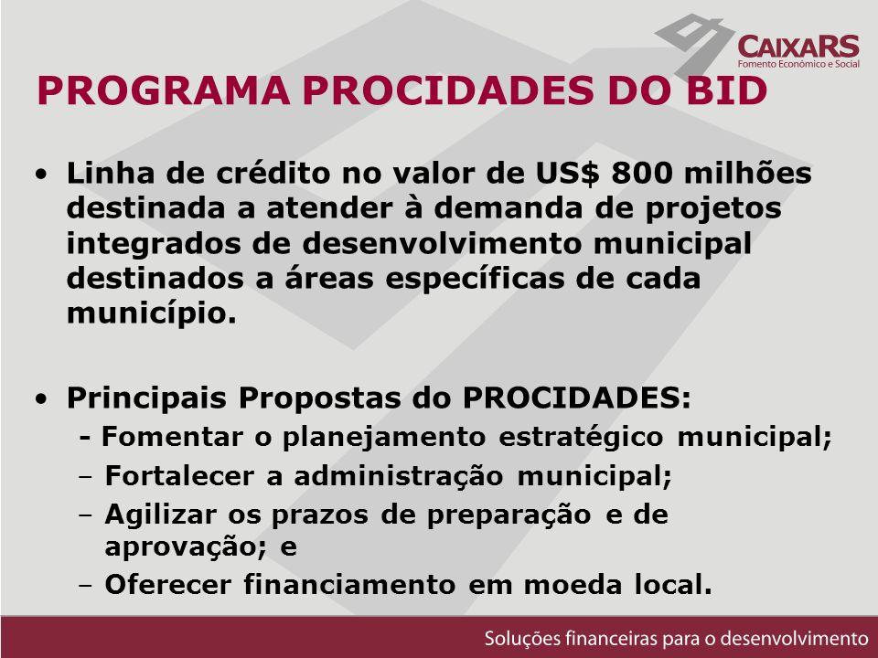 PROGRAMA PROCIDADES DO BID Linha de crédito no valor de US$ 800 milhões destinada a atender à demanda de projetos integrados de desenvolvimento municipal destinados a áreas específicas de cada município.