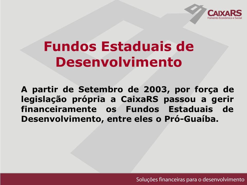 Fundos Estaduais de Desenvolvimento A partir de Setembro de 2003, por força de legislação própria a CaixaRS passou a gerir financeiramente os Fundos Estaduais de Desenvolvimento, entre eles o Pró-Guaíba.