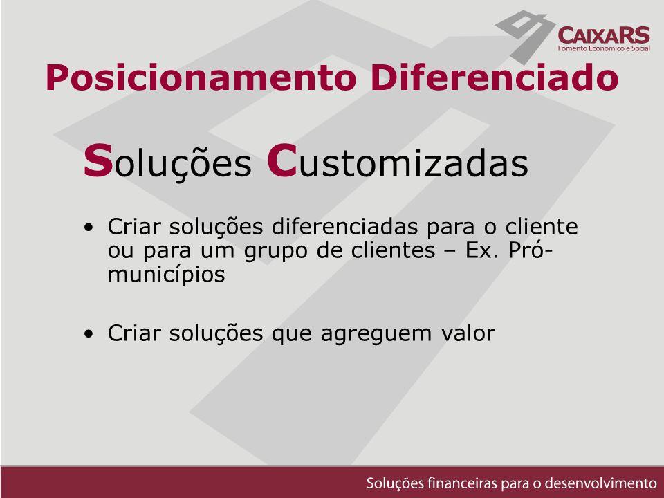 Posicionamento Diferenciado S oluções C ustomizadas Criar soluções diferenciadas para o cliente ou para um grupo de clientes – Ex.