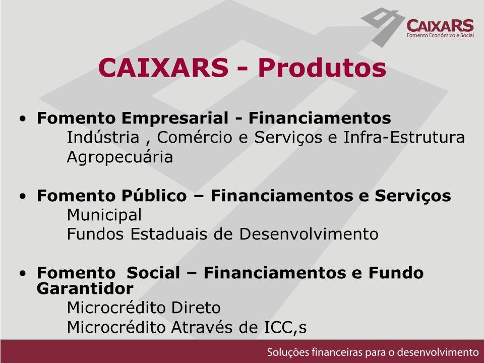 CAIXARS - Produtos Fomento Empresarial - Financiamentos Indústria, Comércio e Serviços e Infra-Estrutura Agropecuária Fomento Público – Financiamentos e Serviços Municipal Fundos Estaduais de Desenvolvimento Fomento Social – Financiamentos e Fundo Garantidor Microcrédito Direto Microcrédito Através de ICC,s