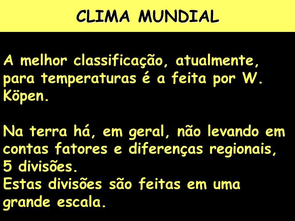 CLIMA MUNDIAL A melhor classificação, atualmente, para temperaturas é a feita por W.