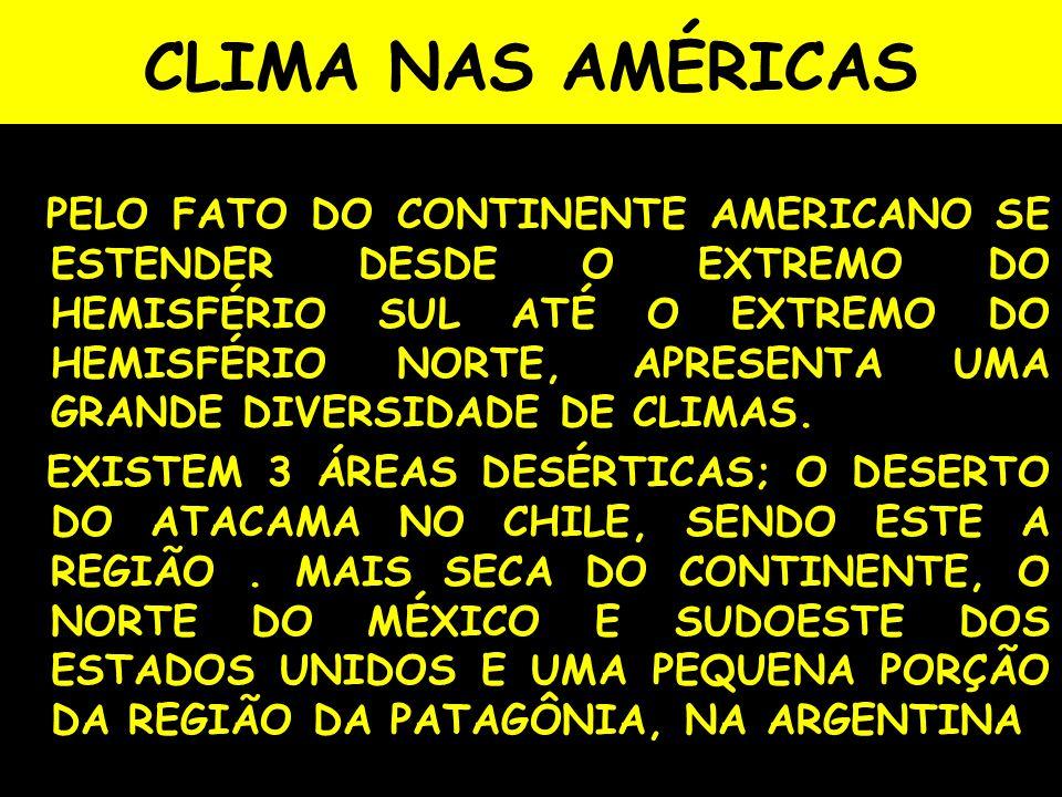 CLIMA NAS AMÉRICAS PELO FATO DO CONTINENTE AMERICANO SE ESTENDER DESDE O EXTREMO DO HEMISFÉRIO SUL ATÉ O EXTREMO DO HEMISFÉRIO NORTE, APRESENTA UMA GRANDE DIVERSIDADE DE CLIMAS.