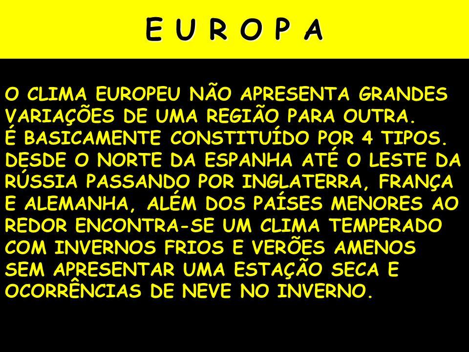 E U R O P A O CLIMA EUROPEU NÃO APRESENTA GRANDES VARIAÇÕES DE UMA REGIÃO PARA OUTRA.