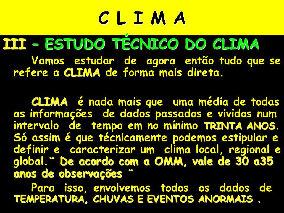 C L I M A III – ESTUDO TÉCNICO DO CLIMA CLIMA Vamos estudar de agora então tudo que se refere a CLIMA de forma mais direta.