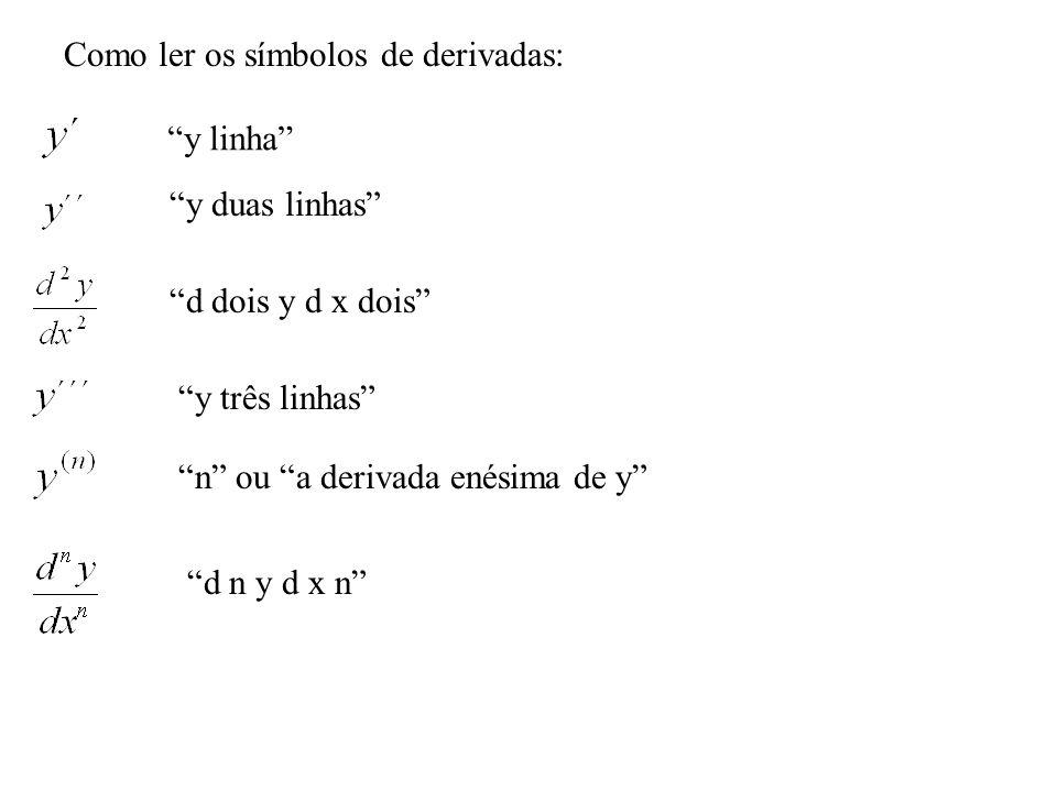 Como ler os símbolos de derivadas: y linha y duas linhas d dois y d x dois y três linhas n ou a derivada enésima de y d n y d x n