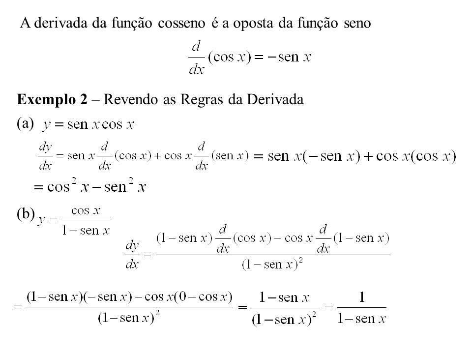 A derivada da função cosseno é a oposta da função seno Exemplo 2 – Revendo as Regras da Derivada (a) (b)