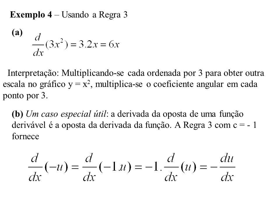 Regra 4 – Regra da Derivada da Soma Se u e v são funções deriváveis de x, então a soma das duas u + v é derivável em qualquer ponto onde ambas são deriváveis.