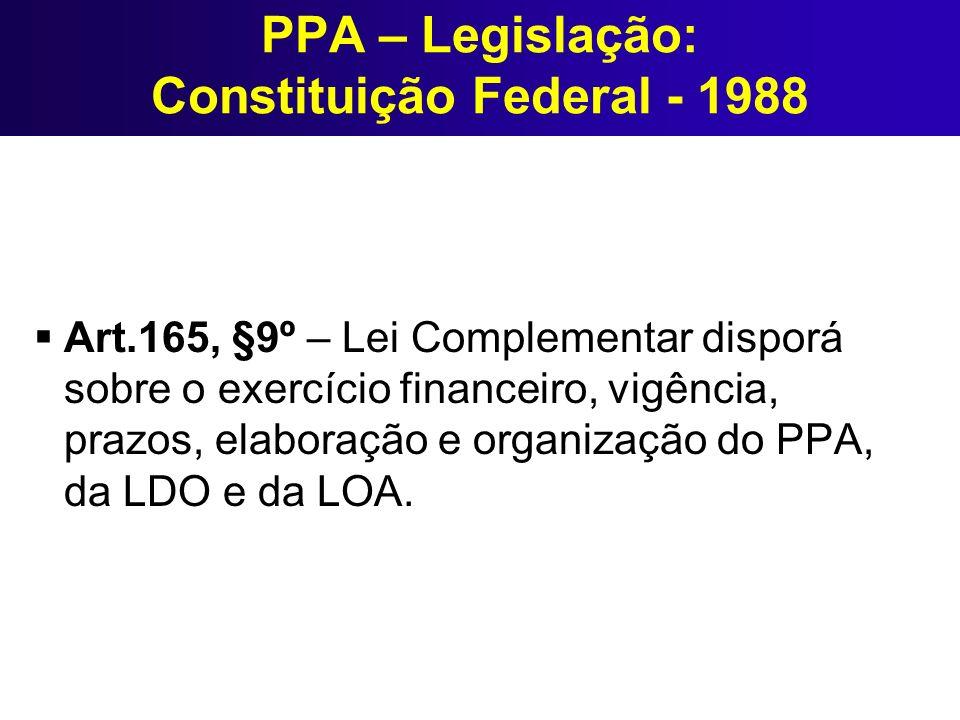 PPA – Legislação: Constituição Federal - 1988 Art.165, §9º – Lei Complementar disporá sobre o exercício financeiro, vigência, prazos, elaboração e org