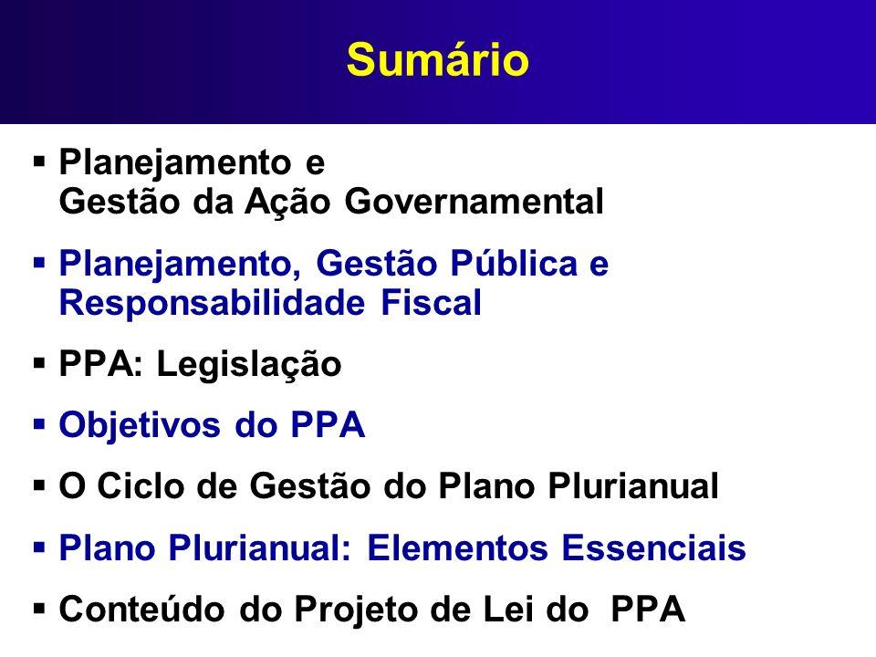 O Ciclo de Gestão do Plano Plurianual ELABORAÇÃO Construção da base estratégica e definição dos Programas e ações IMPLANTAÇÃO Operacionalização do Plano aprovado pelo Legislativo, com recursos dos orçamentos anuais MONITORAMENTO Acompanhamento da execução do Plano, identificação e correção de problemas AVALIAÇÃO Acompanhamento dos resultados pretendidos com o PPA e do processo utilizado para alcançá-los REVISÃO Adequação do Plano às mudanças internas e externas da conjuntura política, social e econômica, pela alteração, exclusão ou inclusão de Programas.