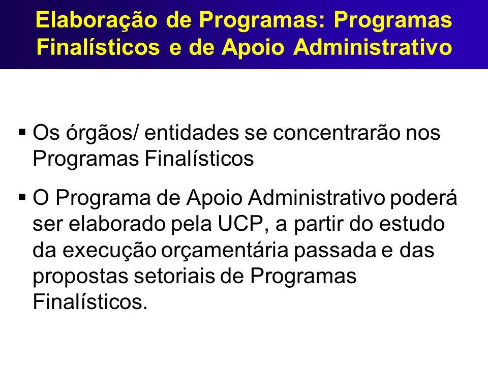 Elaboração de Programas: Programas Finalísticos e de Apoio Administrativo Os órgãos/ entidades se concentrarão nos Programas Finalísticos O Programa d