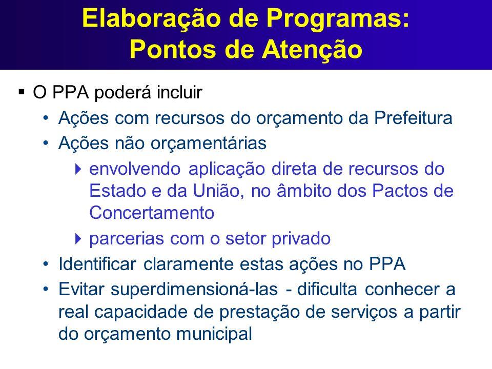 Elaboração de Programas: Pontos de Atenção O PPA poderá incluir Ações com recursos do orçamento da Prefeitura Ações não orçamentárias envolvendo aplic