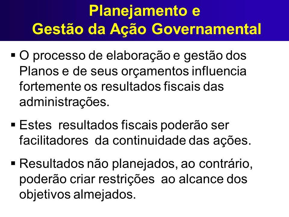 Planejamento e Gestão da Ação Governamental O processo de elaboração e gestão dos Planos e de seus orçamentos influencia fortemente os resultados fisc