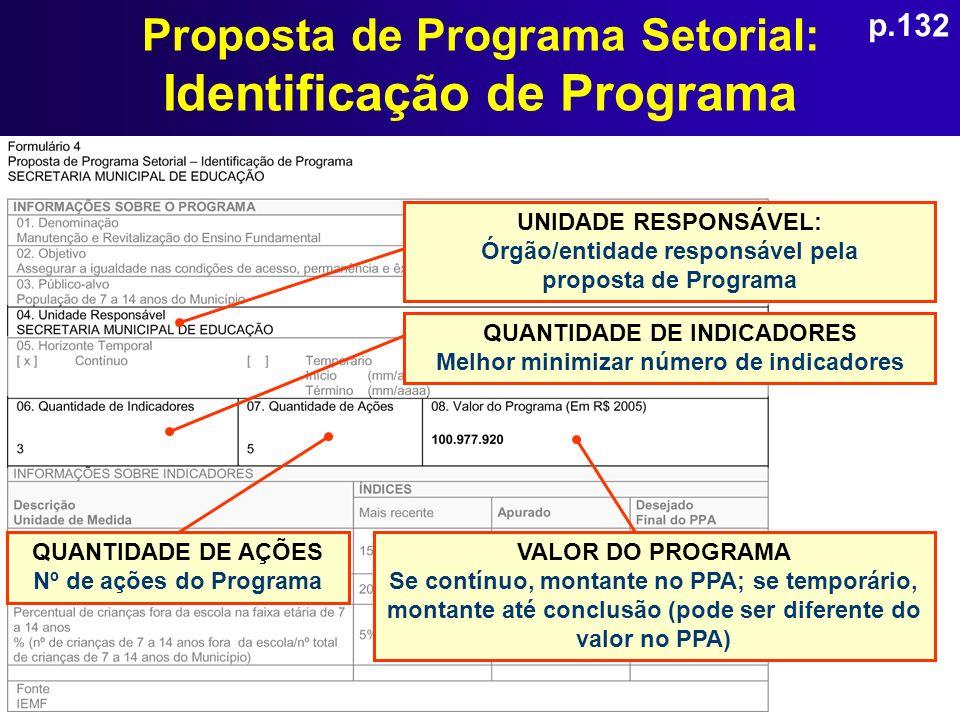 Proposta de Programa Setorial: Identificação de Programa QUANTIDADE DE INDICADORES Melhor minimizar número de indicadores UNIDADE RESPONSÁVEL: Órgão/e