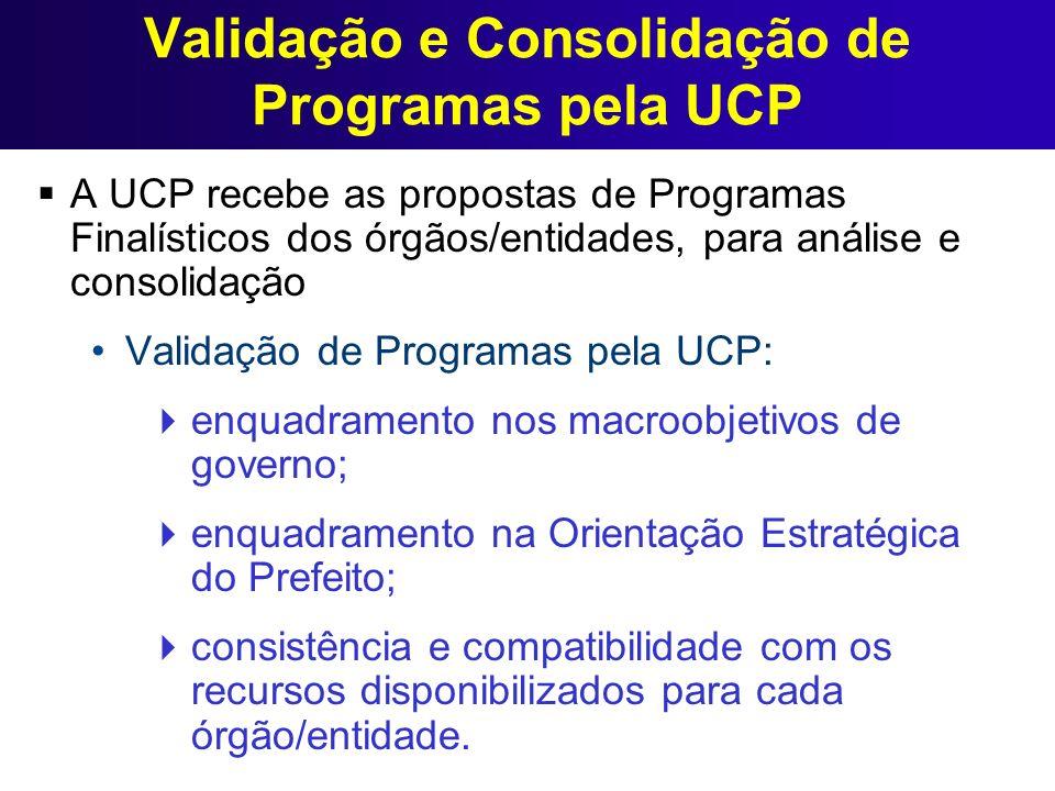 Validação e Consolidação de Programas pela UCP A UCP recebe as propostas de Programas Finalísticos dos órgãos/entidades, para análise e consolidação V