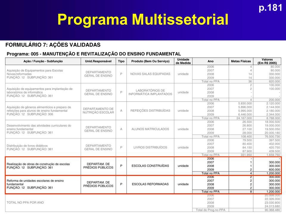 Programa Multissetorial p.181