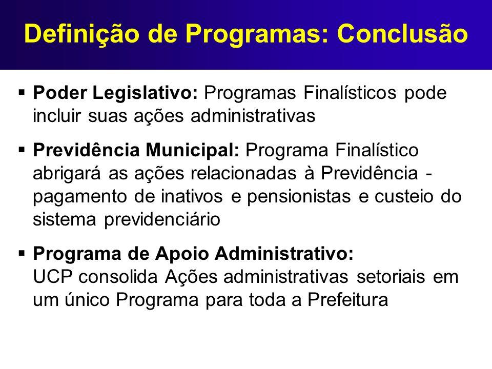 Definição de Programas: Conclusão Poder Legislativo: Programas Finalísticos pode incluir suas ações administrativas Previdência Municipal: Programa Fi