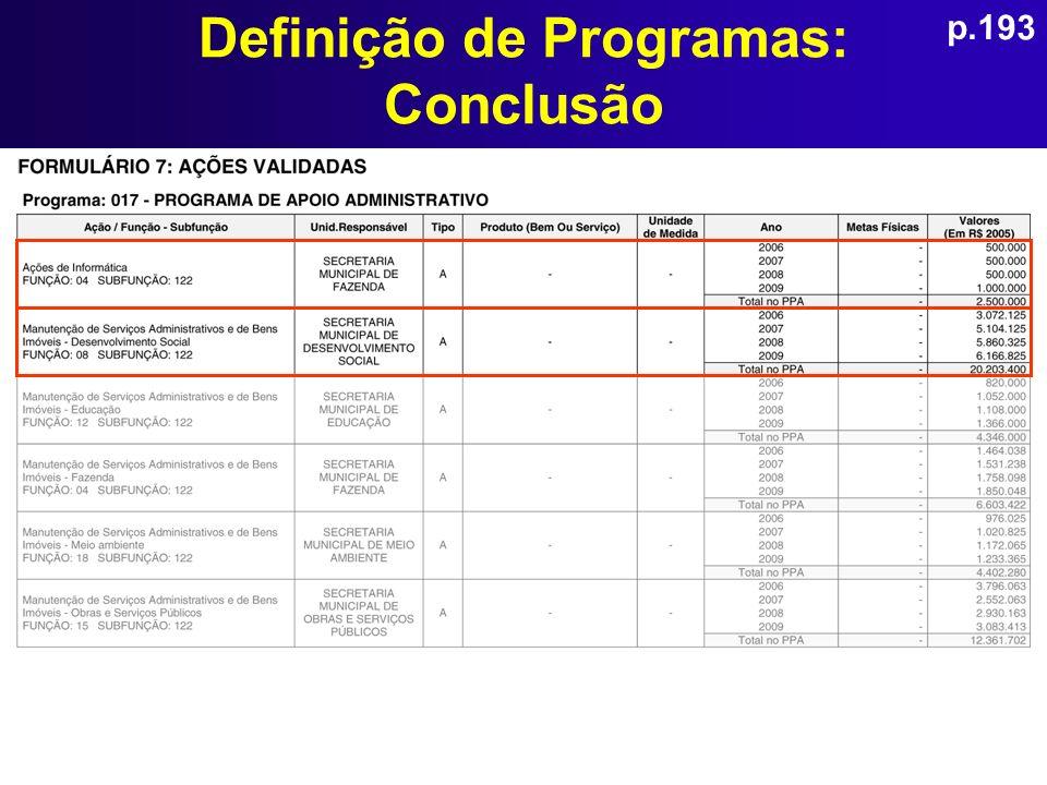 Definição de Programas: Conclusão p.193
