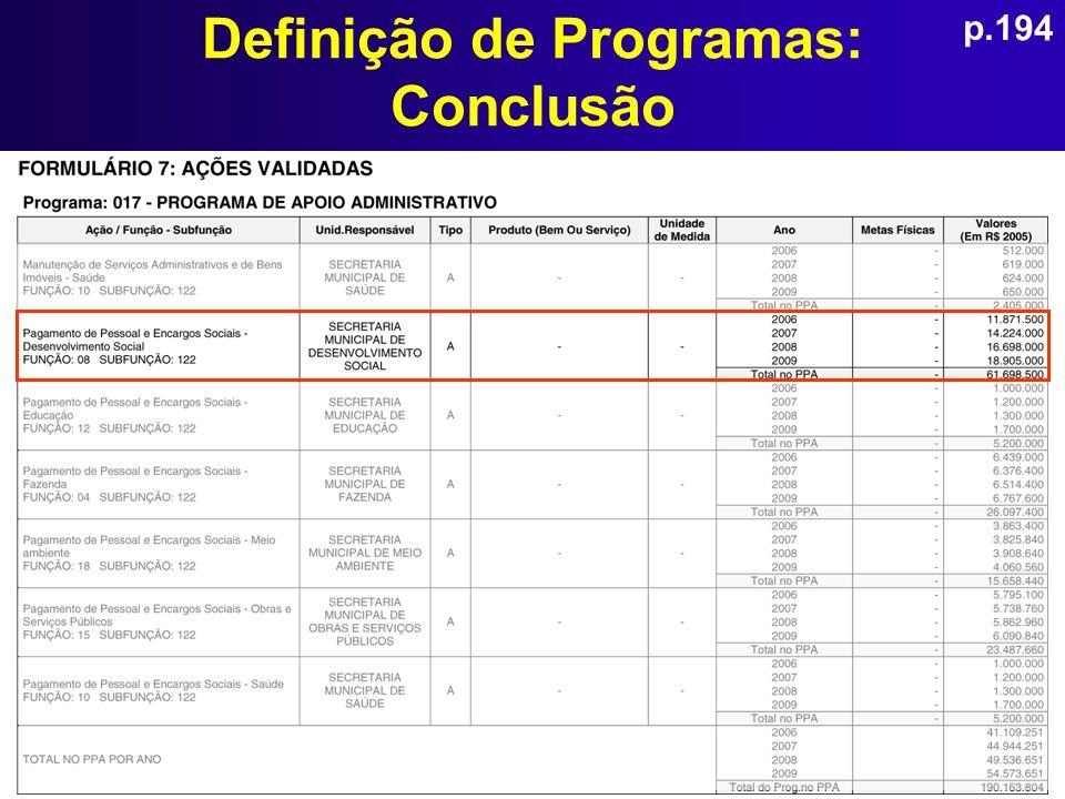 Definição de Programas: Conclusão p.194