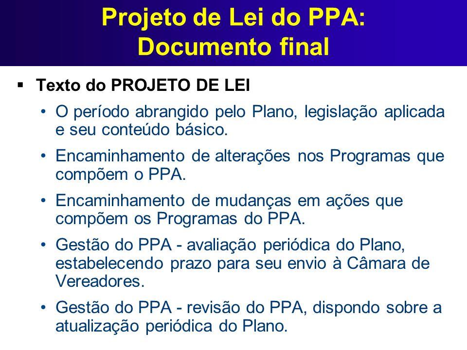 Projeto de Lei do PPA: Documento final Texto do PROJETO DE LEI O período abrangido pelo Plano, legislação aplicada e seu conteúdo básico. Encaminhamen