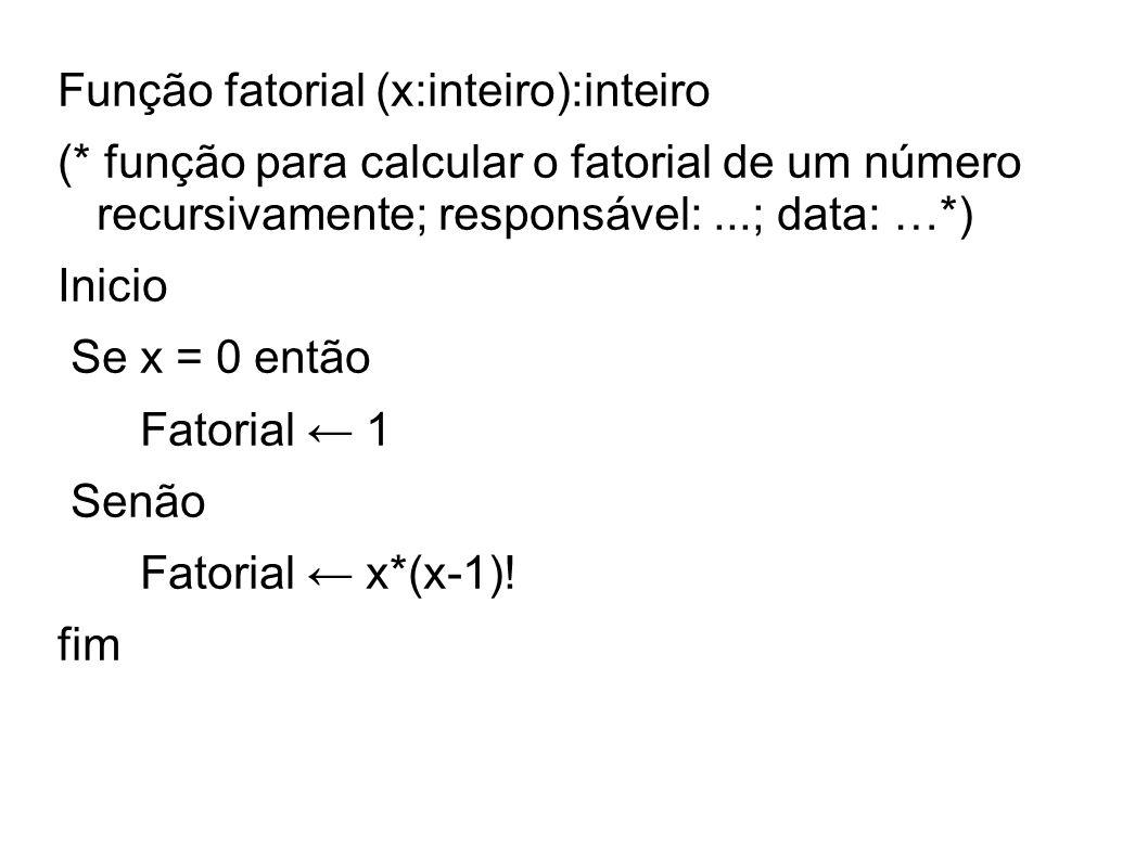 Função fatorial (x:inteiro):inteiro (* função para calcular o fatorial de um número recursivamente; responsável:...; data: …*) Inicio Se x = 0 então F