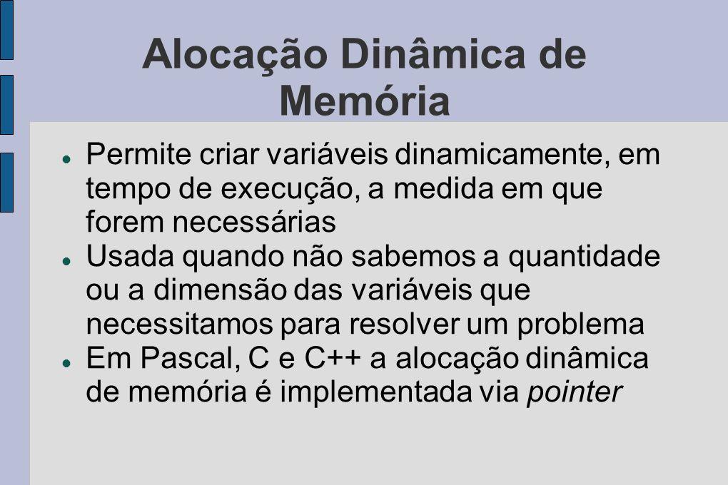 Alocação Dinâmica de Memória Permite criar variáveis dinamicamente, em tempo de execução, a medida em que forem necessárias Usada quando não sabemos a