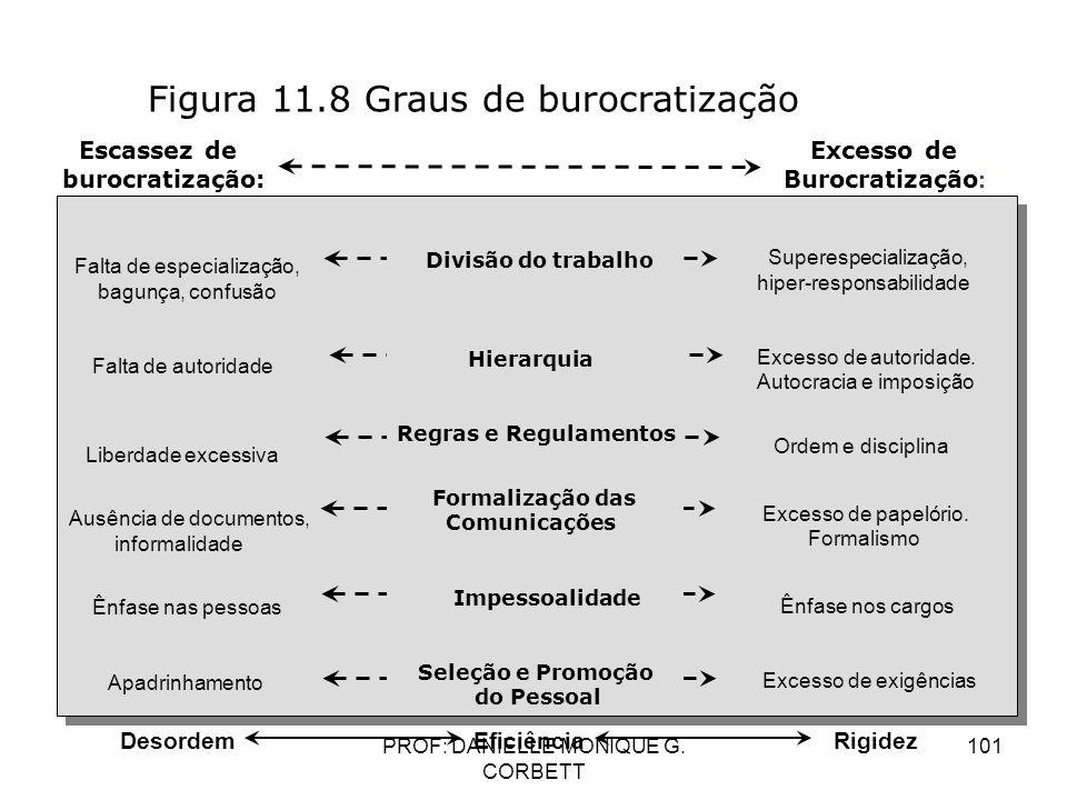 PROF: DANIELLE MONIQUE G. CORBETT 101 Figura 11.8 Graus de burocratização Escassez de burocratização: Excesso de Burocratização : Falta de especializa